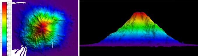 이사부호에 탑재된 심해용 다중빔 음향측심기로 확인한 '키오스트 해산'의 규모와 형상. 해저 6000m 지점에 있으며 높이는 약 4000m로 백두산(2744m)보다도 높다. 가로와 세로 폭은 각각 3만5000m, 3만3000m에 달한다. - 한국해양과학기술원 제공